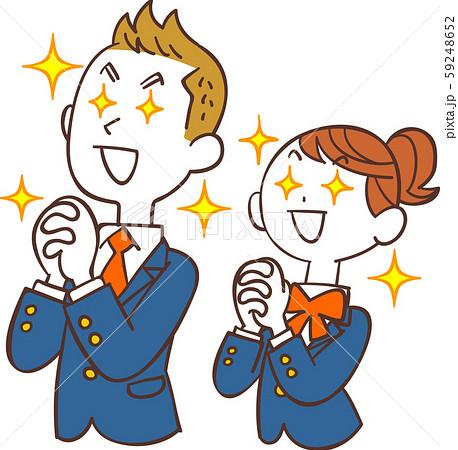 希望を持つ青い制服の男女の学生 59248652