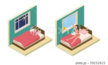 Sleep wake up girl. Isometric bedroom. Vector girl sleep on bed. Good night good morning concept 59252815