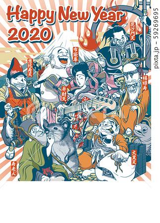 2020年賀状テンプレート「ちょっとおかしな七福神」縦 ハッピーニューイヤー 手書文字用スペース空