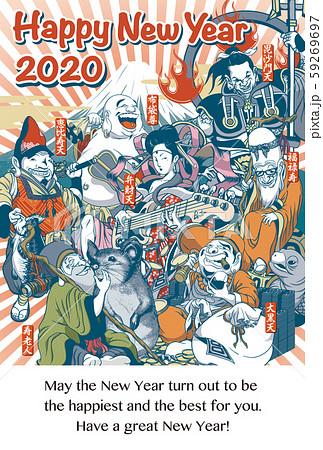 2020年賀状テンプレート「ちょっとおかしな七福神」縦 ハッピーニューイヤー 英語添え書き付
