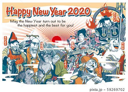2020年賀状テンプレート「ちょっとおかしな七福神」横 ハッピーニューイヤー 英語添え書き付