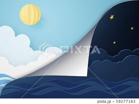 ペーパークラフト-夜から朝へ-めくれる 59277163