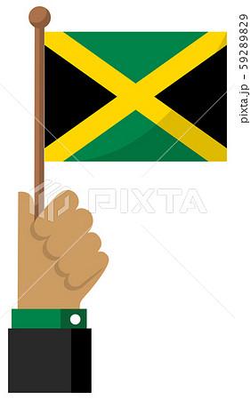 手持ち国旗イラスト ( 愛国心・イベント・お祝い・デモ ) /  ジャマイカ 59289829