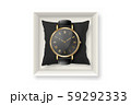 Vector Realistic Golden Classic Vintage Unisex Wrist Watch with Roman Numerals and Black Dial in Box 59292333