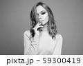 black and white portrait of Beautiful woman 59300419