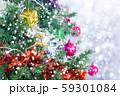 Closeup of Christmas tree with light, snow flake. 59301084