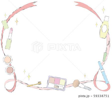 メイクアップアイテムとリボンのバナーのイラスト 59338751