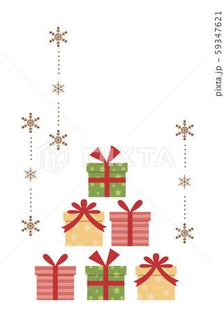 クリスマスプレゼントと雪の結晶のオーナメント 59347621