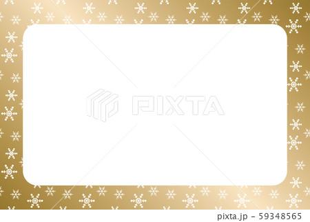 金色のグラデーションの背景と白い雪の結晶のフレーム 59348565
