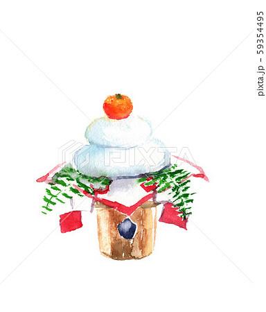 鏡餅 正月 縁起物 和 水彩 イラスト 59354495