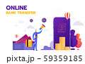 Money transaction around world, business, mobile banking and mobile payment. Vector illustration 59359185