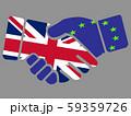Handshake with United Kingdom and Euro flags 59359726
