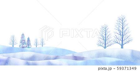 幻想的な冬の平原イメージ 水彩イラスト 59371349