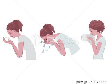 泡洗顔、洗顔、顔を拭く 女性の横顔のイラスト 59375367