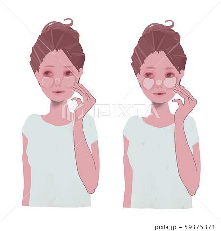 肌荒れした顔の保湿をする女性のイラスト 59375371