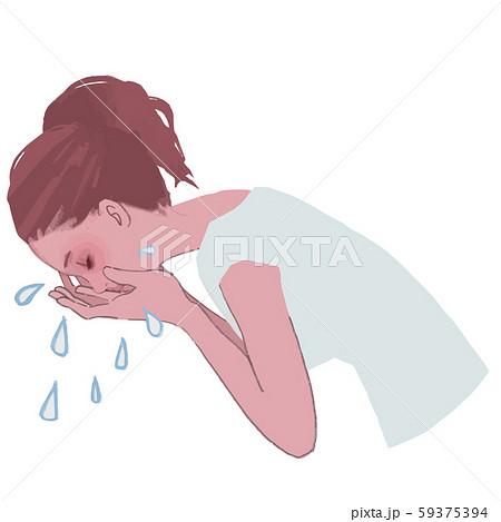 洗顔する女性の横顔のイラスト 59375394