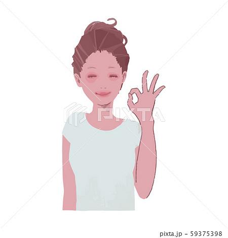 okサインをする女性のイラスト2 59375398