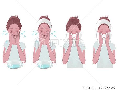 洗面器で顔を洗う、タオルで顔を拭く 女性のイラストセット 59375405