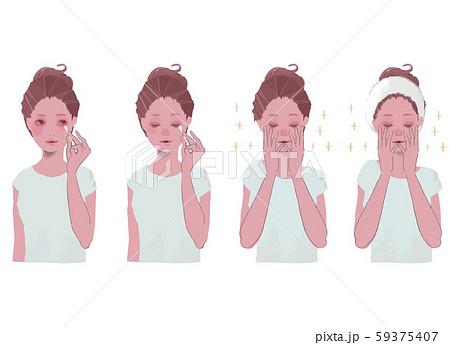 綿棒でアイメイクを落とす、顔を手で包む 女性のイラスト セット 59375407