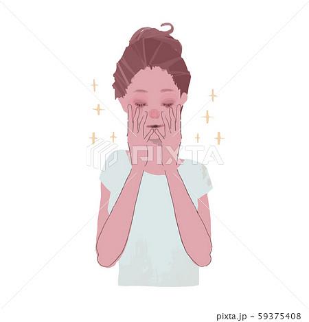 顔を手で包む女性のイラスト 59375408