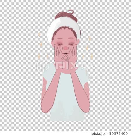 顔を手で包む女性のイラスト2 59375409