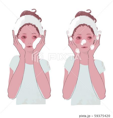 泡洗顔をする女性のイラスト セット2 59375420