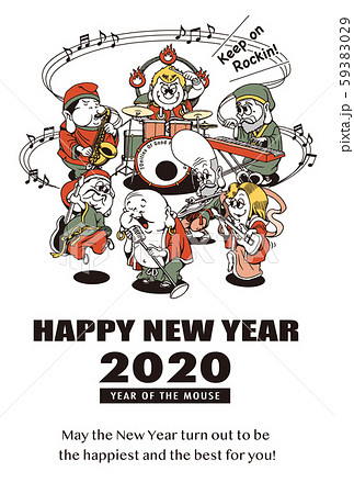 2020年賀状テンプレート「七福神バンド」ハッピーニューイヤー 英語添え書き付