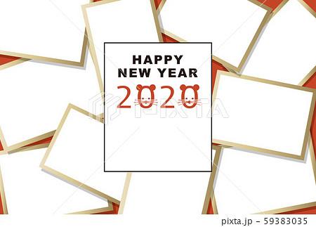 2020年賀状テンプレート「大盛りフォトフレーム」ハッピーニューイヤー 手書き文字用スペース空き