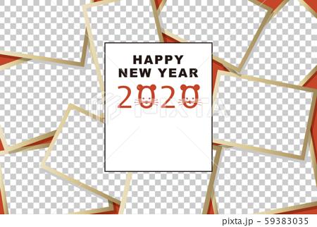 2020年賀状テンプレート「大盛りフォトフレーム」ハッピーニューイヤー 手書き文字用スペース空き 59383035
