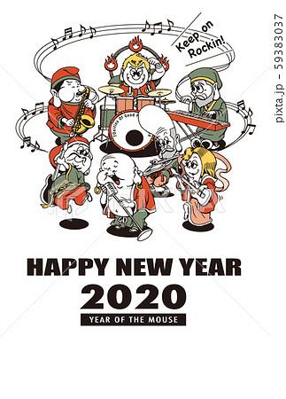 2020年賀状テンプレート「七福神バンド」ハッピーニューイヤー 手書き文字用スペース空き