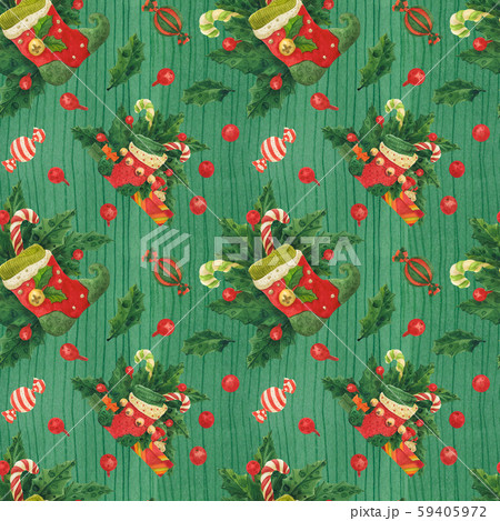 Christmas Holly green pattern with elf stockings 59405972