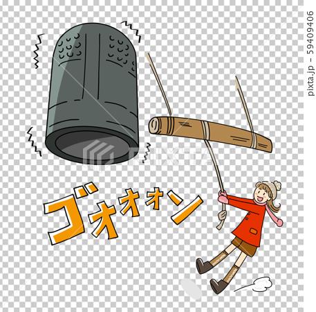 來到Hatsumode並在夜裡戴上鈴鐺的女孩的插圖隨著鈴鐺的聲音 59409406