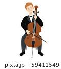 チェロを弾く男性のベクターイラスト 59411549