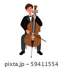 チェロを弾く男性のベクターイラスト 59411554