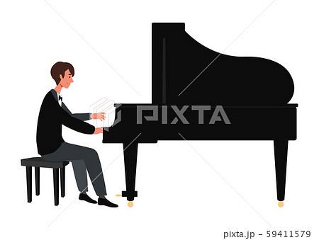ピアノを弾く男性のベクターイラスト 59411579