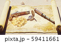 Pirate compass with pistol and spyglass lie on the treasure map. Pirate treasure and old pirate map 59411661