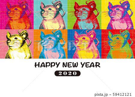 2020年賀状テンプレート「ポップアート風ネズミ」ハッピーニューイヤー 手書き文字用スペース空き 横
