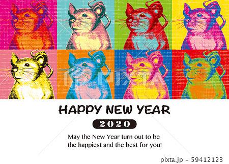 2020年賀状テンプレート「ポップアート風ネズミ」ハッピーニューイヤー 英語添え書き付 横