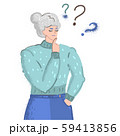 Vector cartoon illustration of old woman face emotions, girl question mark what . Woman character on 59413856