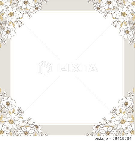 ラインアート 花のフレーム 59419584