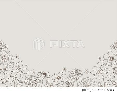 手描きラインアート 花のフレーム 59419783