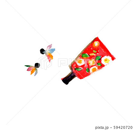 羽子板 イラスト 正月 水彩 59420720