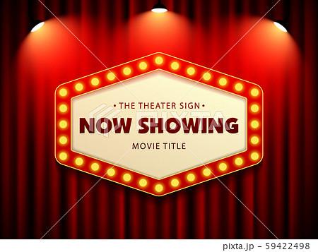Cinema Movie Theater Retro Sign on red curtain with spotlight illuminated vector Illustration 59422498