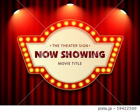 Cinema Movie Theater Retro Sign on red curtain with spotlight illuminated vector Illustration 59422500