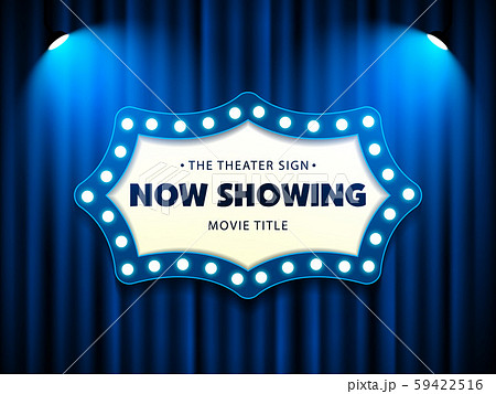 Cinema Movie Theater Retro Sign on blue curtain with spotlight illuminated vector illustration 59422516