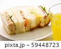ミニミックスサンドイッチ(ドリンクセットメニュー)。(白皿・白バック) 59448723