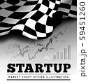 Startup concept with checkered start flag and trading graph on background. Vector 59451260