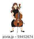 チェロを弾く女性のベクターイラスト 59452674