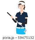 ゴルフクラブを持っている女性のイラスト。 59475132