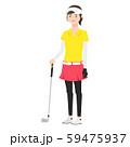女性のイラスト。ゴルフクラブを手に持っている。 59475937